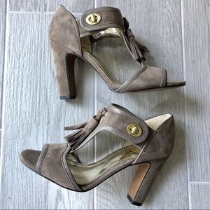 NWT Coach taupe suede Tristen heeled sandals